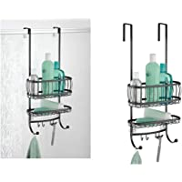 "iDesign York Bathroom Over the Door Shower Caddy with Storage Baskets Shelves and Hooks for Shampoo, Conditioner, Soap, 10"" x 8"" x 21.75"", Matte Black"