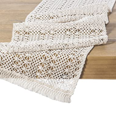 Ling's moment 12  x 108  9 FT Elegant Lightweight Hollow Mesh Macrame Table Runner Cream Crochet Lace Table Cloth for 2019 Boho Beachy Vibes Wedding Party Rustic Farmhouse Dinner Tabletop Decor