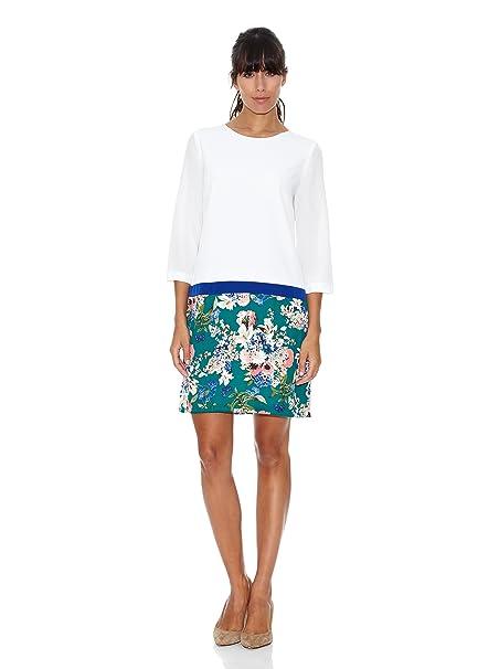 Cortefiel Vestido Print Blanco/Verde L