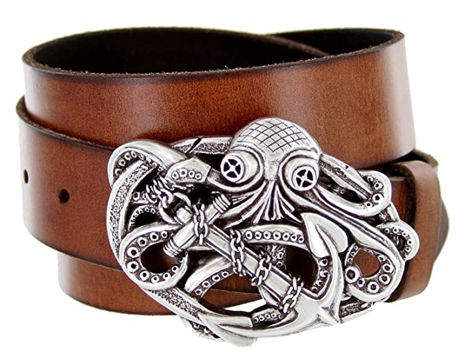 Men's Pirate Octopus Kraken Anchor Tan Leather Belt