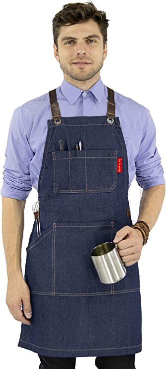 Personalized  Adjustable Neck-strap Canvas Apron Supermarket cafe Kitchen,Chef,Gift Full  Apron for Restaurant,Bakery Bookstore