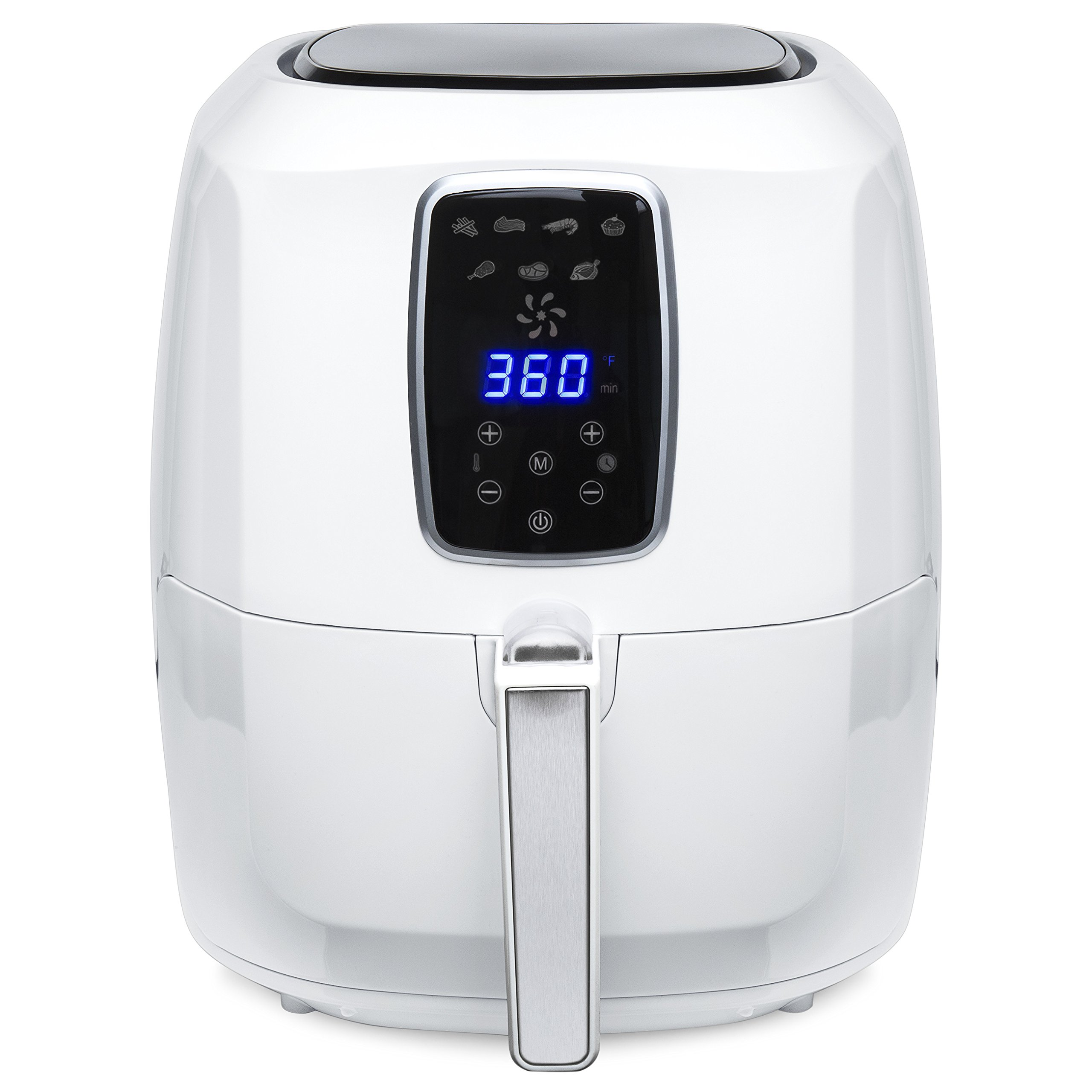 Best Choice Products 5.5-Quart Large Digital Air Fryer w/ LCD Screen, 7 Preset Settings, and Non-Stick Coating - White
