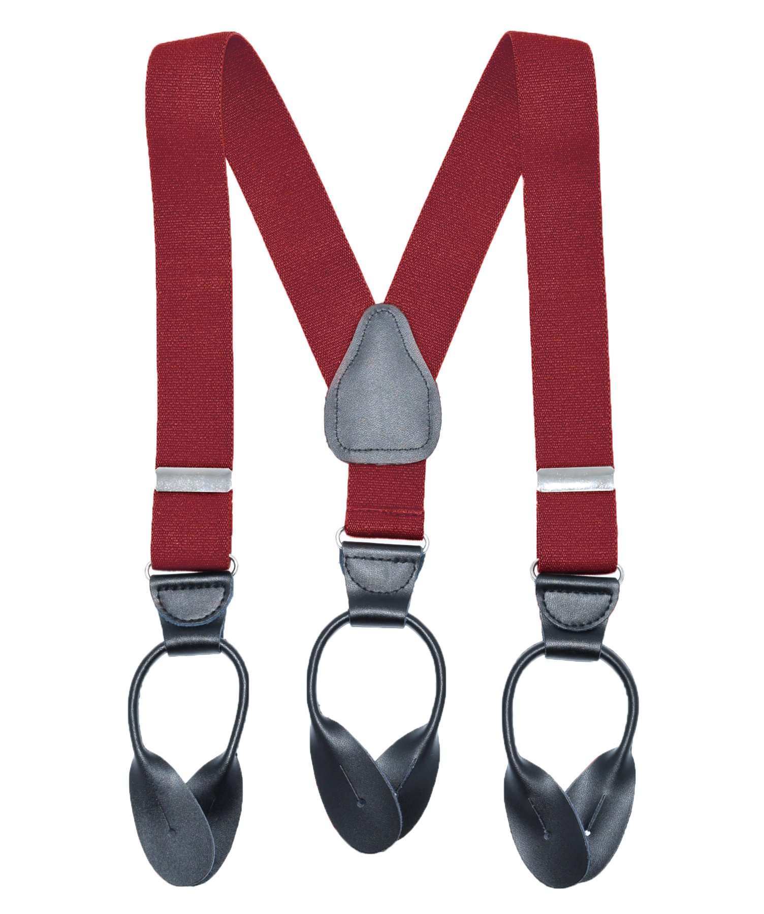Button End Suspenders for KidsBoys Girls Toddlers and Baby MADE IN USA Elastic, Fully Adjustable With Genuine Leather Button Tabs and Crosspatch - Red