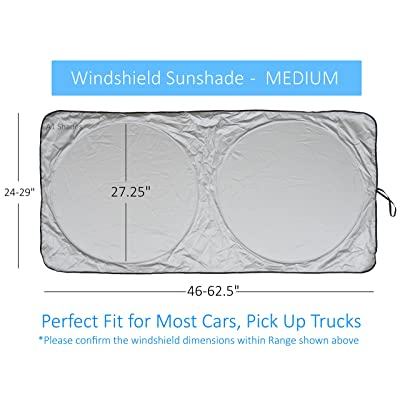 Windshield Sun Shade SUV Car Size Chart with Your Vehicle Universal Quality-210T Keep Vehicle Accessories Cool UV Sun and Heat Reflector Sunshade (Medium): Automotive