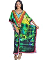 Kaftan, Caftan, Kaftan Caftan Dress Beach Kaftan Dress Digital Print Free Size Dress In Green