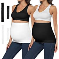 Bamboo Belly Band, Non-Slip Seamless Maternity Belt with 2/4 PCS Pants Extenders during Pregnancy and Postpartum