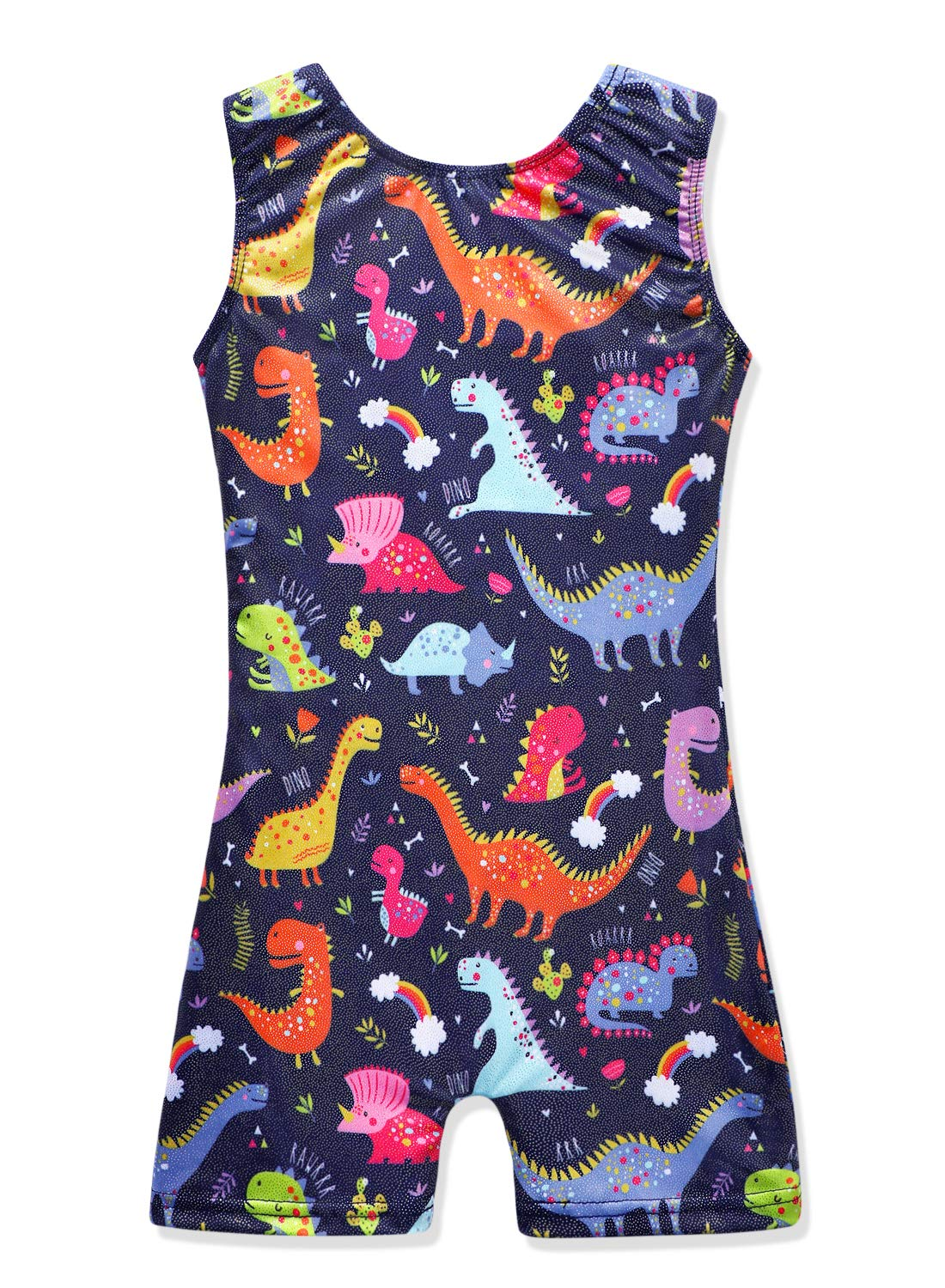 DAXIANG Unicorn Leotards for Girls Gymnastics Biketards Sparkle Unicorn Black and Blue (Dinosaur, 130(6-7Years)) by DAXIANG