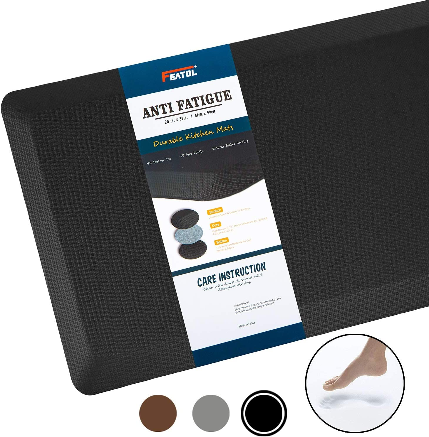 Phthalate Free,Relieves Foot,Knee,and Back Pain Black, 20x32 Comfort Anti Fatigue Mat,9//10 inch Standing Desks and Garages Perfect for Kitchens Extra Support and Thick