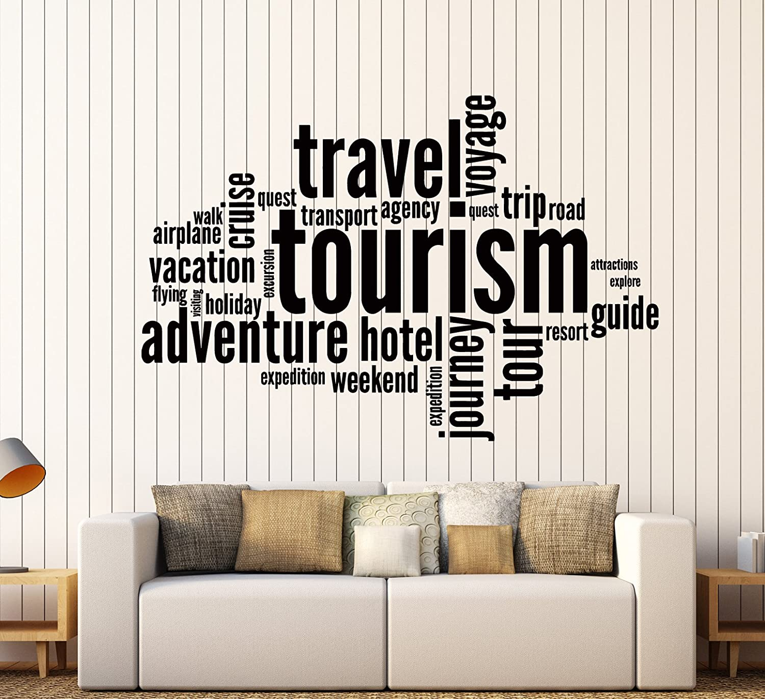 amazoncom wall stickers vinyl decal tourism travel adventure quote words inspire message z1349i m 225 in x 35 in home kitchen
