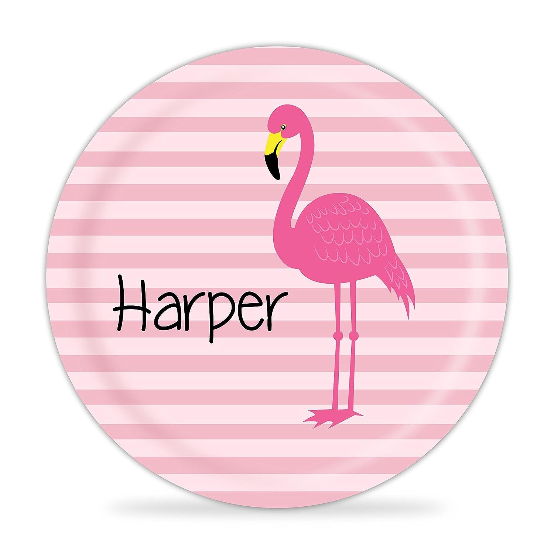 Flamingo Plate - Coral Stripe, Pink Falmingo Melamine Personalized Plate