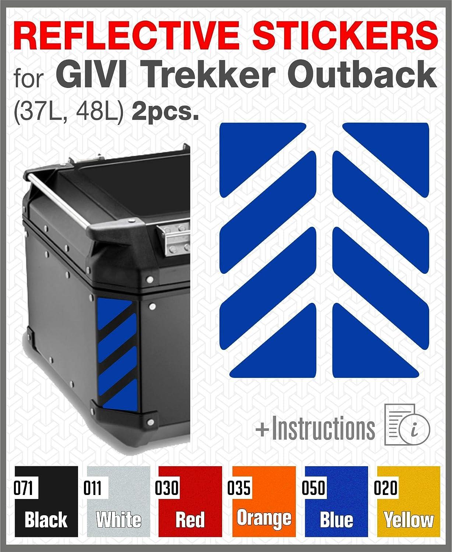 2pcs RIFRANGENTI ADESIVI compatibile con GIVI Monokey Trekker Outback Bauletto Alluminio TOP CASE 37 42 48 L (Yellow 020) Black Doves