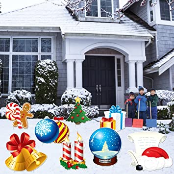 victorystore yard sign outdoor lawn decorations christmas lawn decoration set of 8 16 short - Christmas Lawn Decorations Amazon