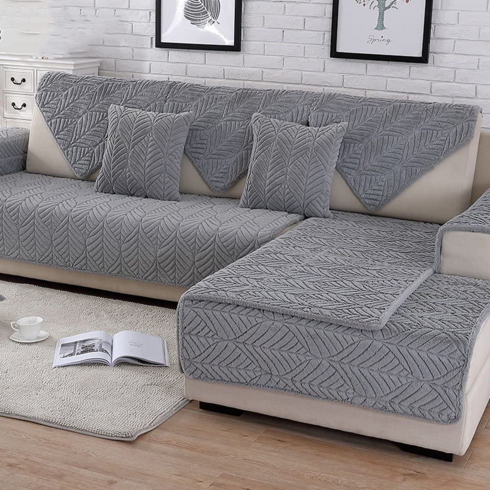 HM&DX Plush Sofa Slipcover,Thick Quilted Anti-Slip Stain Resistant Multi-Size Sofa Cover Protector for Pets Dog Sectional Couch Cover-Grey 110x240cm(43x94inch)