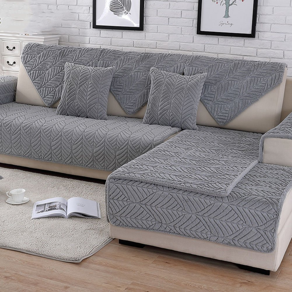 HM&DX Plush Sofa slipcover,Thick Quilted Anti-Slip Stain Resistant Multi-Size Sofa Cover Protector for Pets Dog Sectional Couch Cover-Grey ...