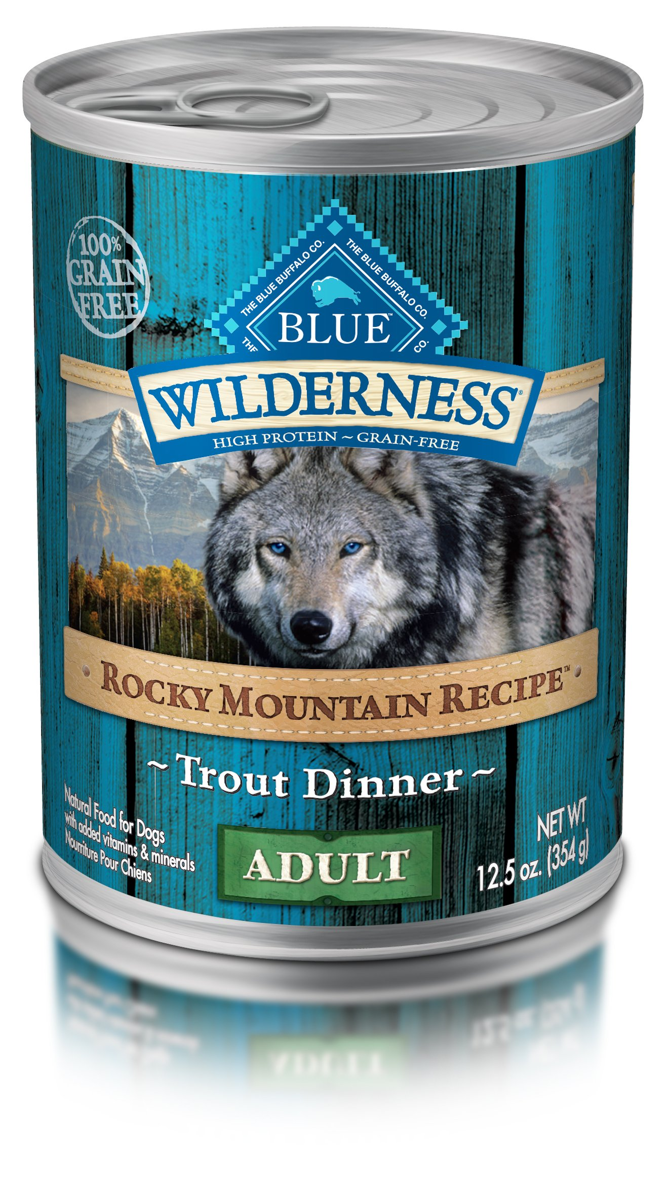 Blue Buffalo Wilderness Rocky Mountain Recipes Adult Trout - Grain Free 12.5 oz, Pack of 12 by BLUE Wilderness