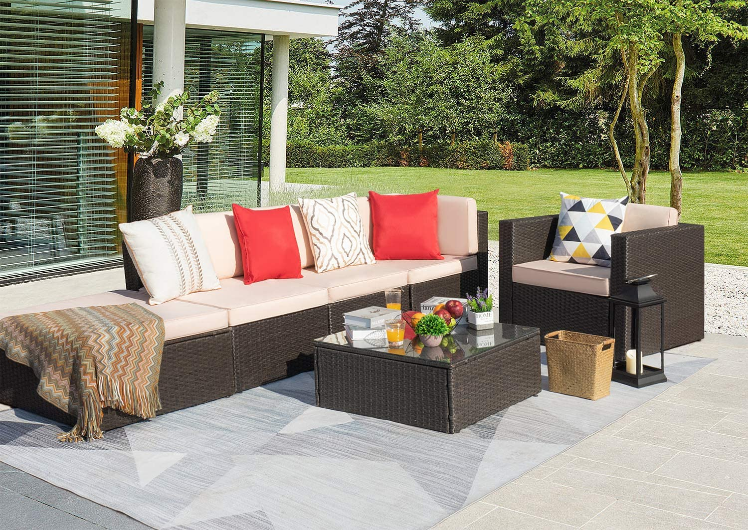KaiMeng 6 Pieces Outdoor Patio Furniture Sets Black Brown Sectional Wicker Sofa Lawn Rattan Conversation Set with Seat Cushions