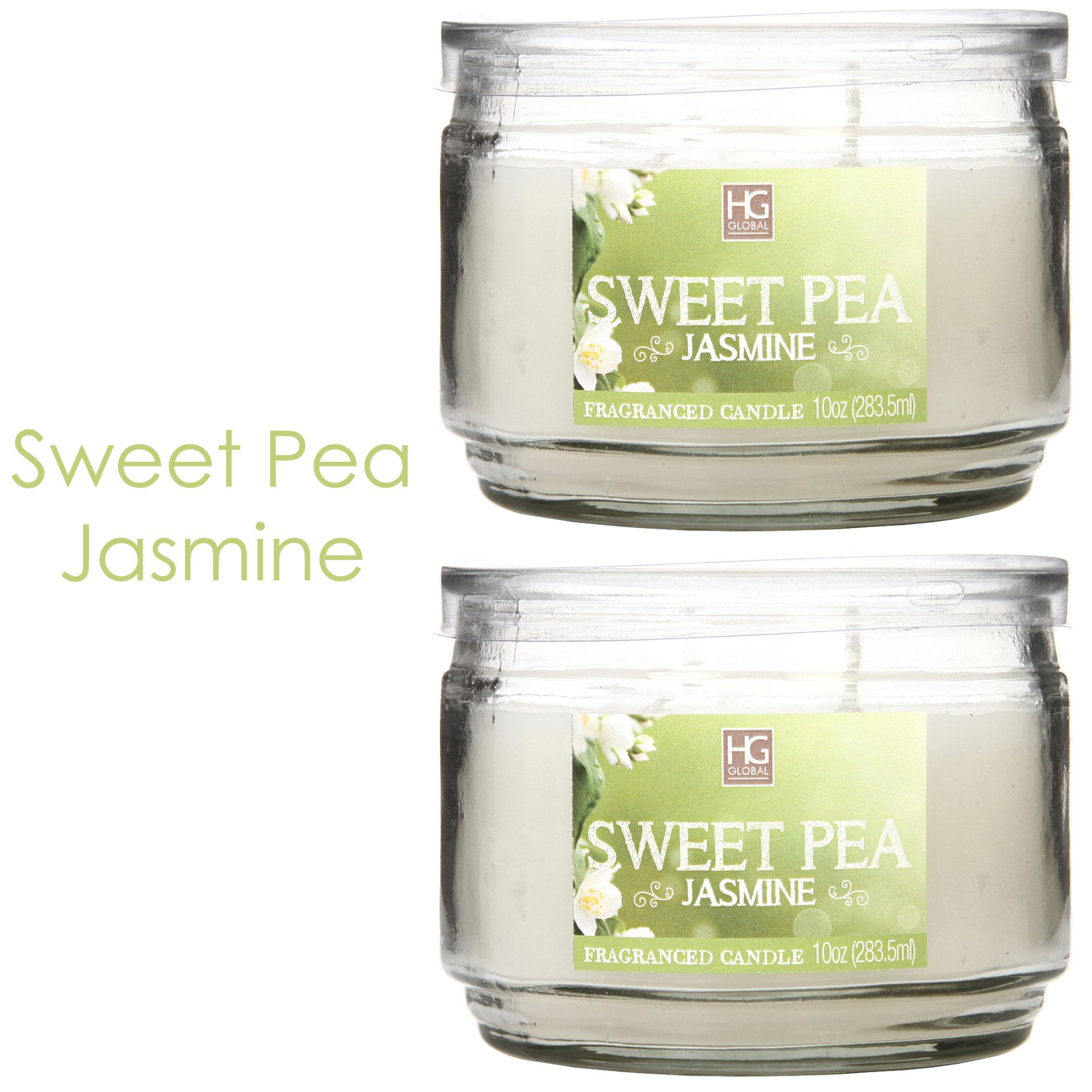 Hosley Set of 2 Sweet Pea Jasmine 2 Wick 10 Oz wax Jar Candle, Hand Poured Wax Blend Infused with Essential Oils Ideal GIFT for Party, Weddings, Spa, Reiki, Meditation, Bathroom O9