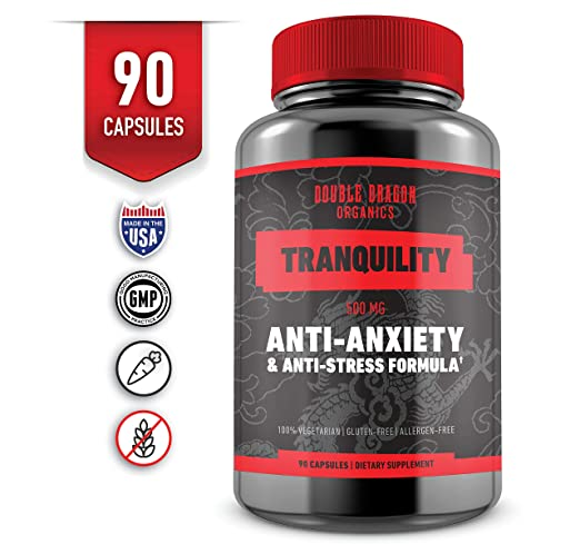 Anti Anxiety Supplement and Stress Support for Anxiety Relief, Mental Focus, Memory & Cognitive Function, Reduce Stress by Increasing Serotonin Without Feeling Tired - Double Dragon Organics - 90 Caps