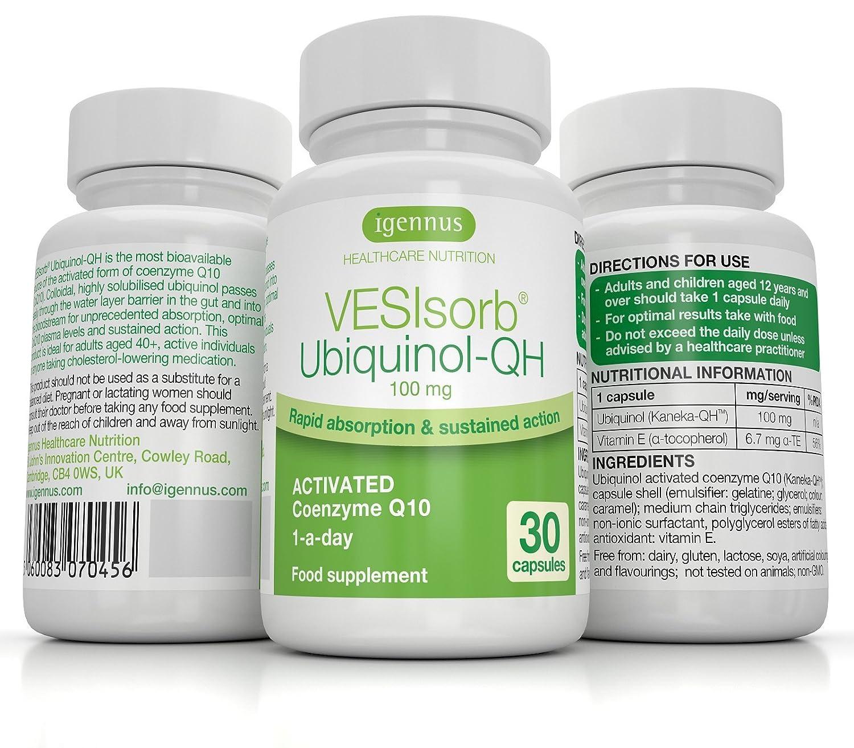 Igennus VESIsorb Ubiquinol-QH Coenzima Q10 100mg, Acción Rápida Suplemento, 30 cápsulas: Amazon.es: Salud y cuidado personal