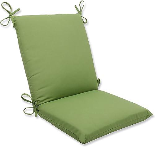 Pillow Perfect Outdoor Indoor Sunbrella Canvas Gingko Square Corner Chair Cushion, 36.5 x 18 , Green