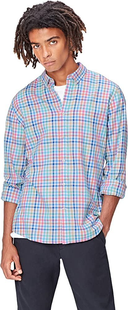 Marca Amazon - find.. Camisa de Cuadros para Hombre, Multicolor (Multicheck), M, Label: M: Amazon.es: Ropa y accesorios