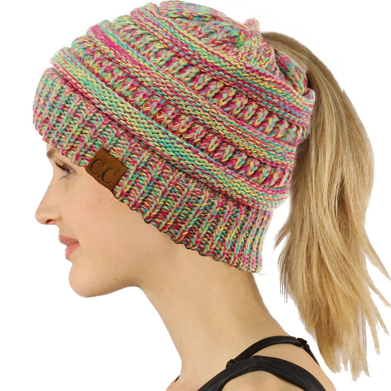 Quad Hot Pink Ponytail Messy Bun BeanieTail Soft Winter Knit Stretchy Beanie Hat Cap