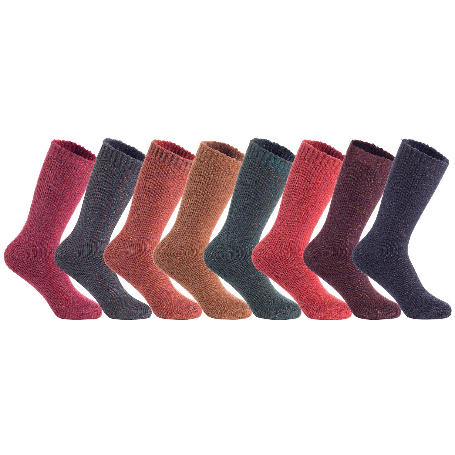 Lian LifeStyle Big Girl's Women's 5 Pairs Pack Soft Wool Acrylic Blend Hiker Crew Socks HR1414 Size 6-9 or XL(5 Colors)