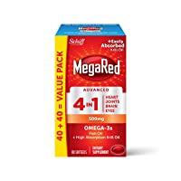 Omega-3 Fish Oil + High Absorption Krill Oil 500mg Softgels, MegaRed Advanced 4in1...