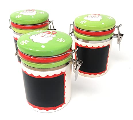 Christmas Chalkboard Ceramic Canister Jars with Tight Lids Snap Closure for Kitchen or Bathroom ~ Coffe  sc 1 st  Amazon.com : christmas food storage containers  - Aquiesqueretaro.Com