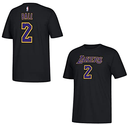 6bde45e3896 Amazon.com : adidas Lonzo Ball Los Angeles Lakers Black Name and ...