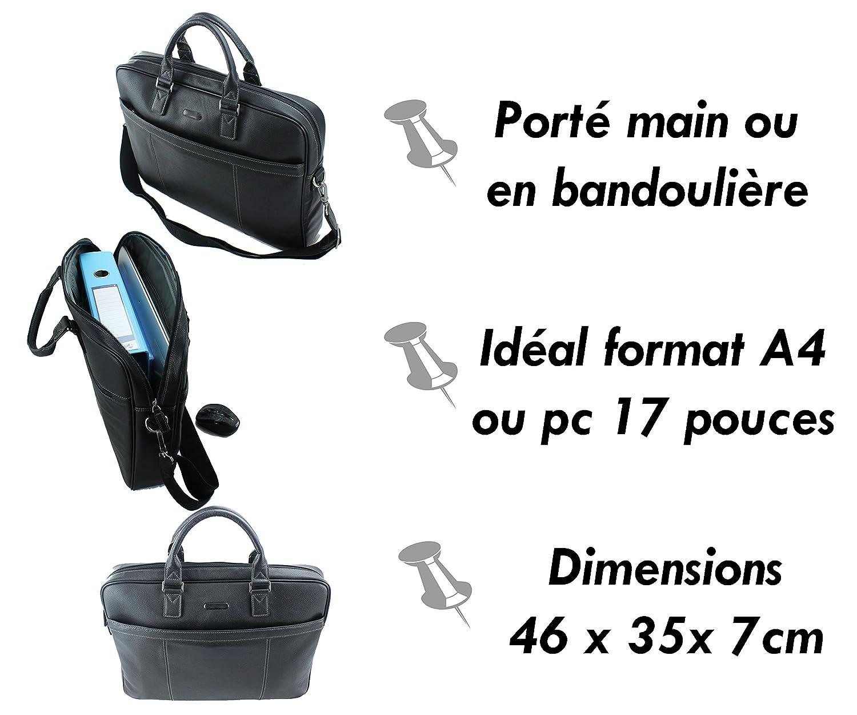 2485d15032 Frédéric&Johns® - Sac homme ou femme - ordinateur classeur format A4 - sac à  l'épaule - sac pour ordinateur portable 18 pouces - sac business - cuir de  ...