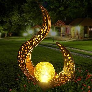 Aodue Garden Solar Light Outdoor Decorative, Crackle Glass Globe Metal Garden Stake Light, Waterproof for Pathway, Lawn, Patio, Yard, Magic Wand Decor