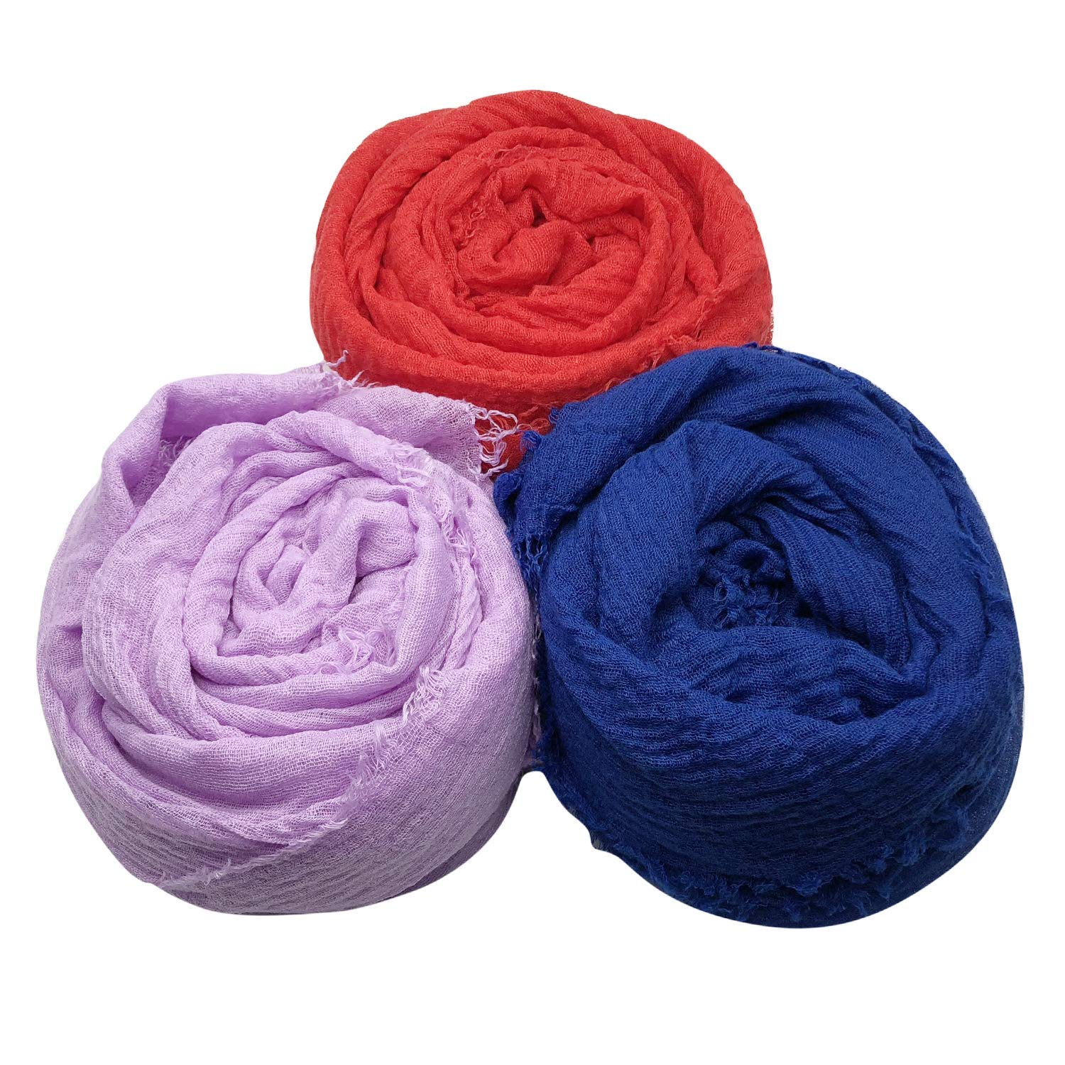 MANSHU 4PCS Women Soft Cotton Hemp Scarf Shawl Long Scarves Big Head Scarves. Scarf and Wrap
