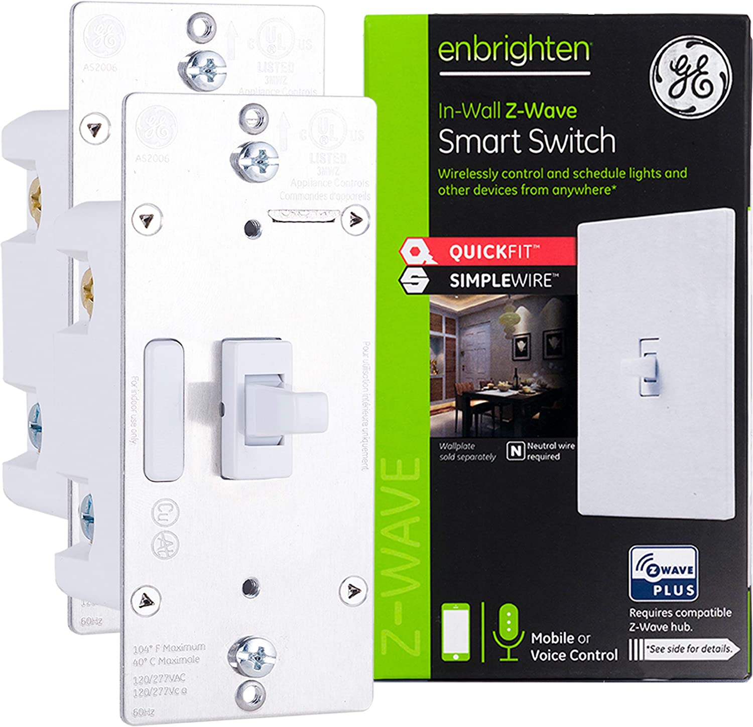 GE Enbrighten Z-Wave Plus Smart Light Switch 2-pack with QuickFit and SimpleWire, 3-Way Ready, Works with Alexa, Google Assistant, Zwave Hub Required
