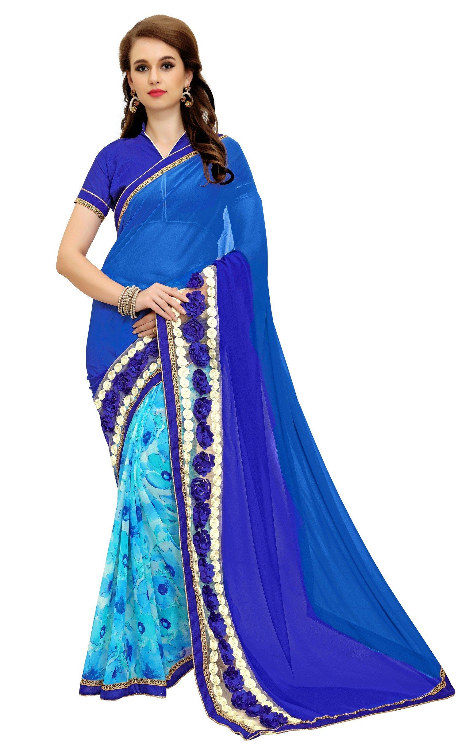 Women's Patch Work faux Georgette Designer Saree for women , Sarees, Sari , Indian Wedding Gift (Blue 1)