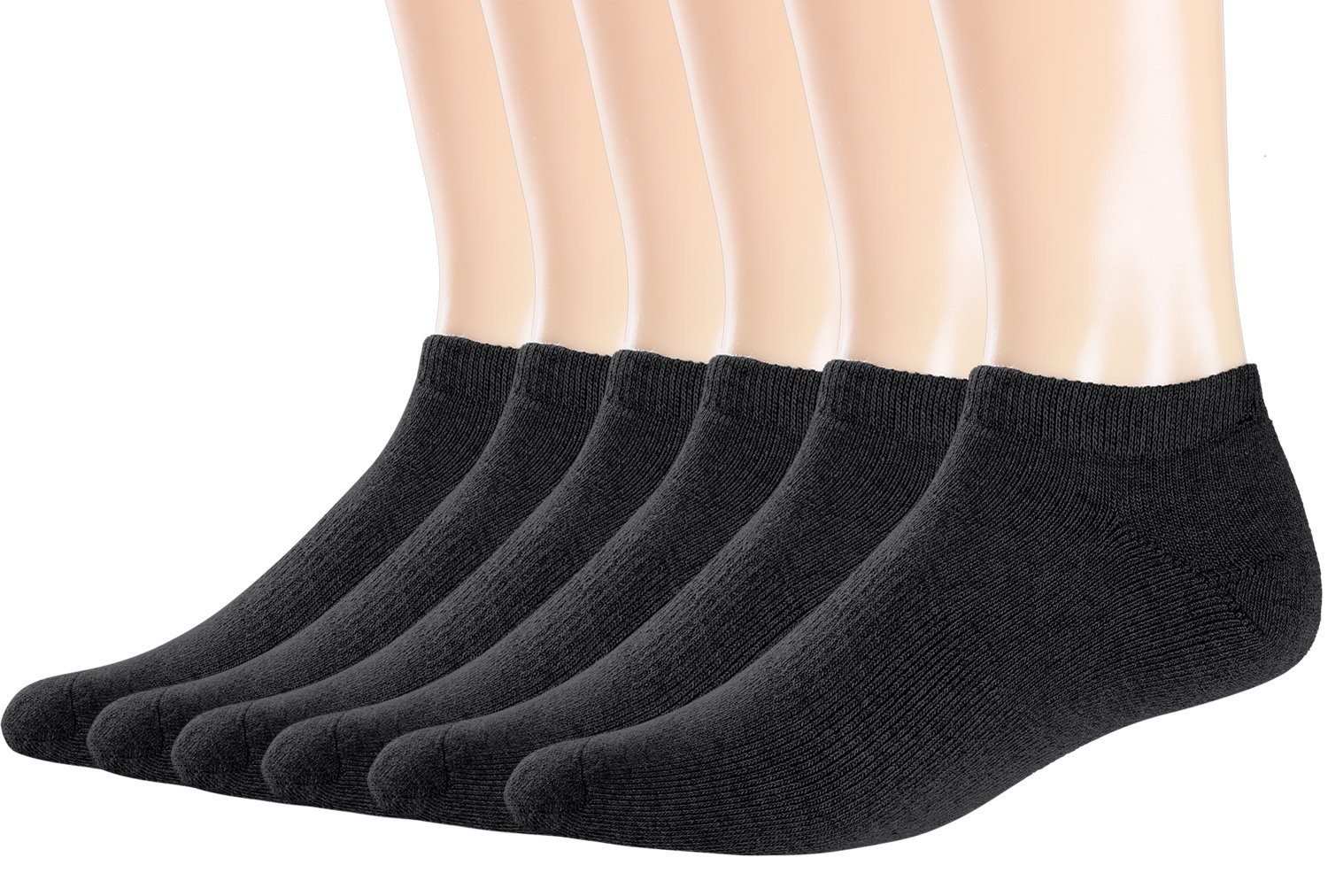Areke Men's Performance Comfort Cotton Cushioned No show Socks, Knit Athletic Casual Low Cut Soxs