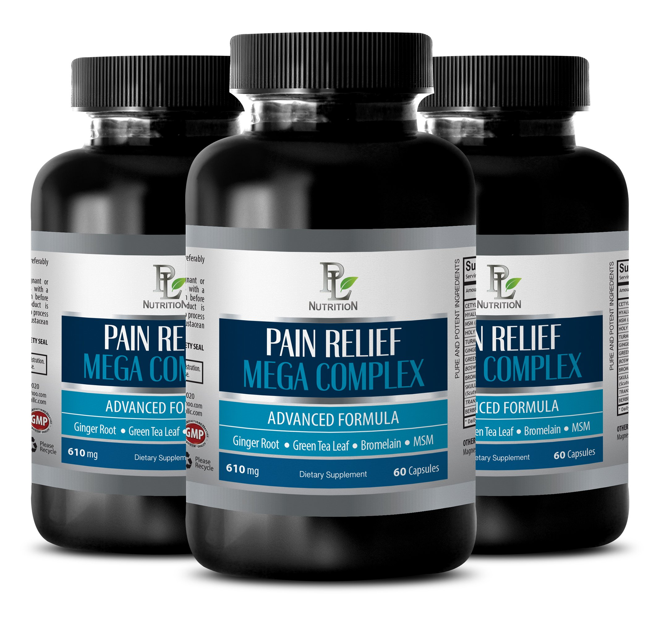 pain quell - PAIN RELIEF MEGA COMPLEX 610MG - holy basil bulk herb - 3 Bottles (180 Capsules)