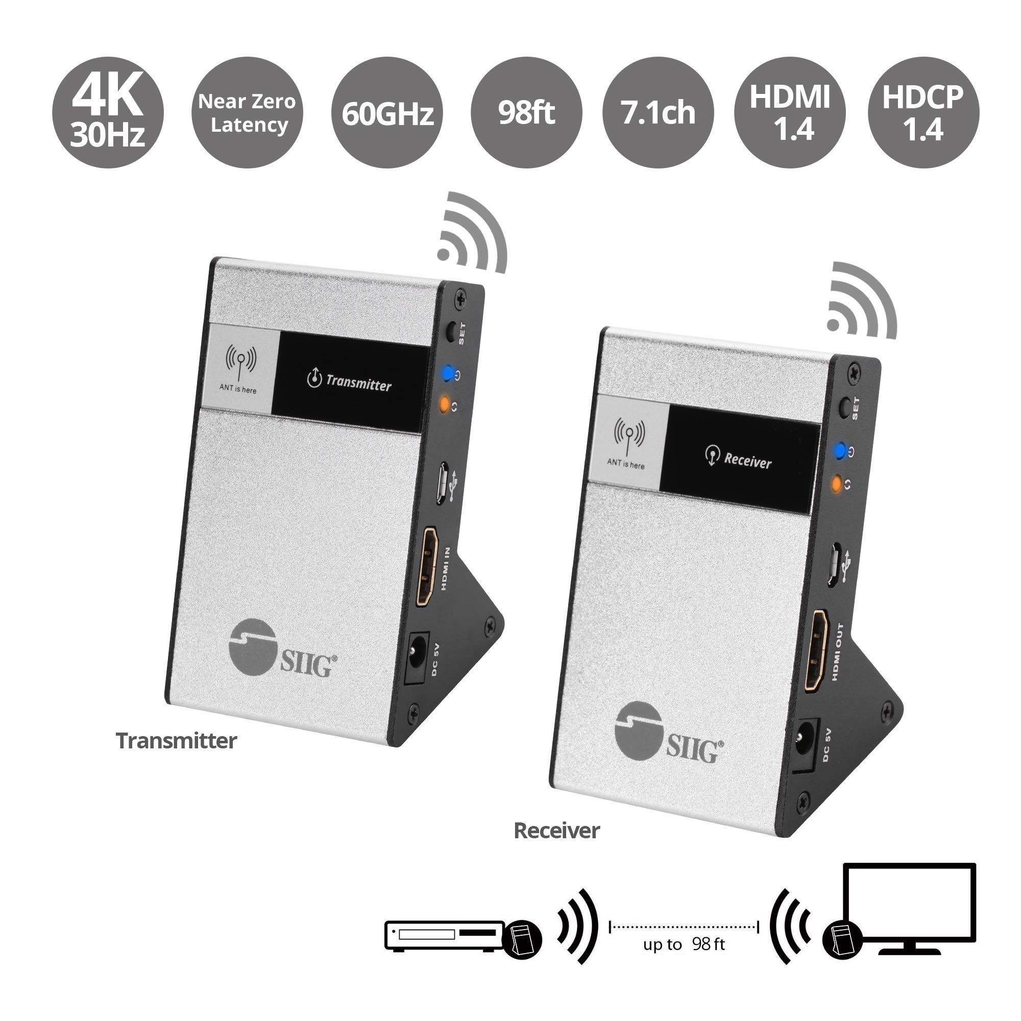 SIIG CE-H23Q11-S1 Wireless HDMI Extender Kit 98Ft 30M Supporting 4K @30Hz HDCP 1.4 CEC 60GHz Frequency-Transmitter and Receiver, Black by SIIG