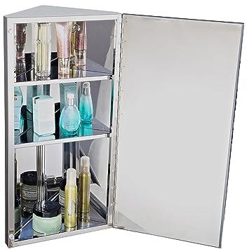 armoire miroir rangement toilette salle de bain meuble mural dangle acier inoxydable 60x30x18 - Placard D Angle Salle De Bain