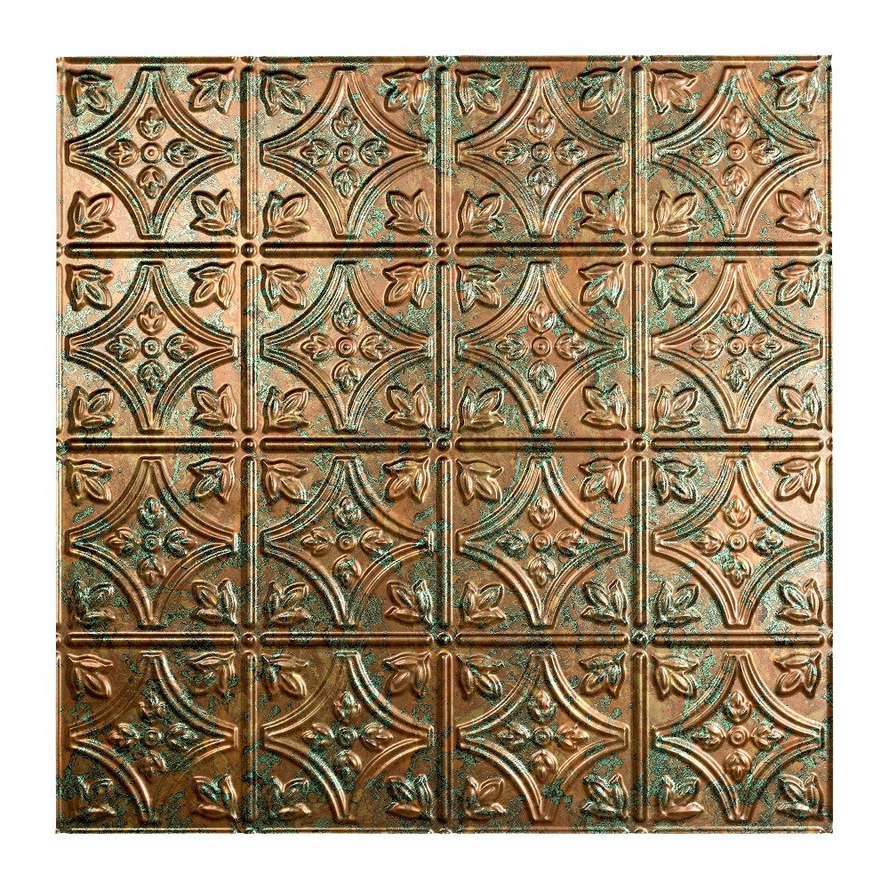Fasade Easy Installation Traditional 1 Copper Fantasy Lay In Ceiling Tile / Ceiling Panel (2' x 2' Tile)