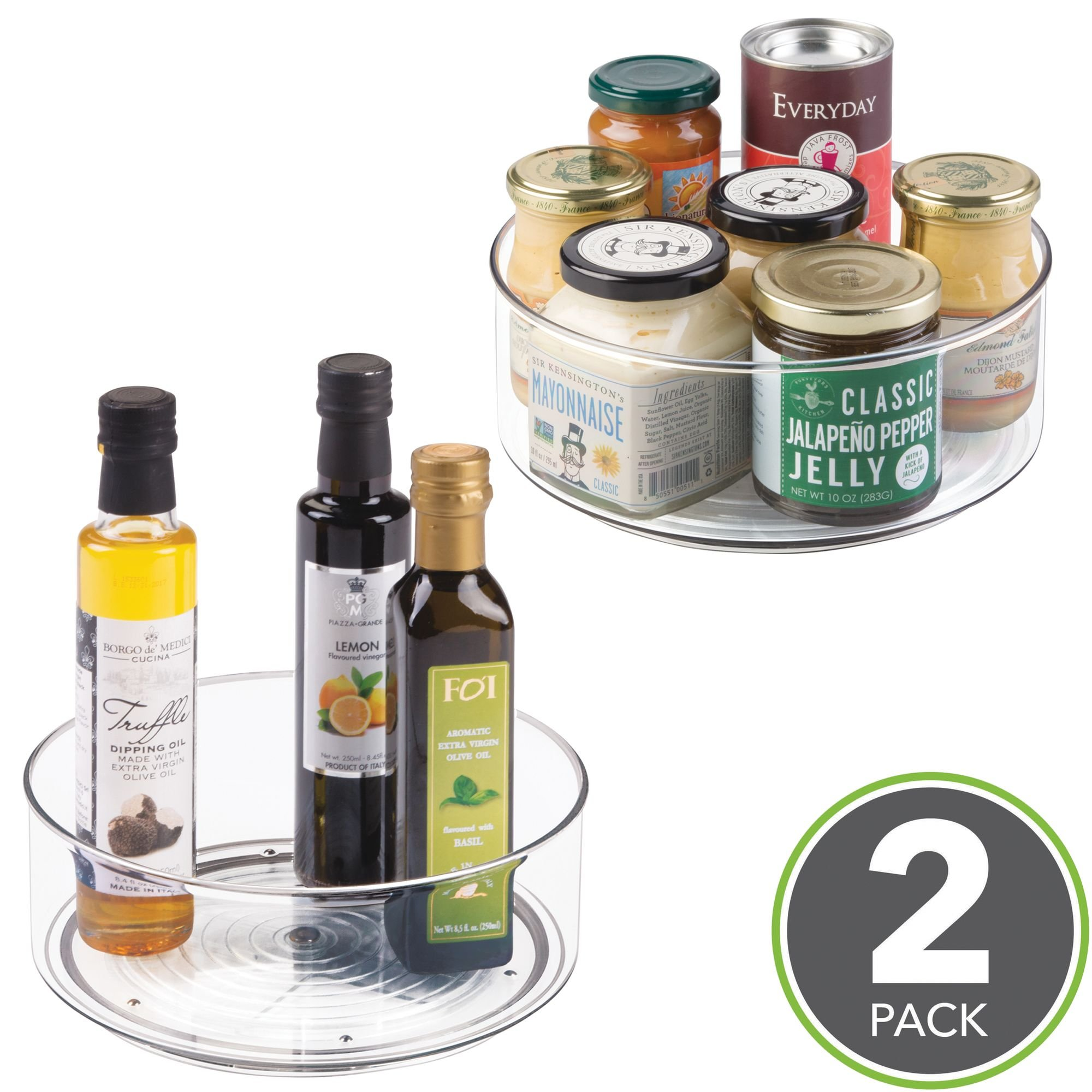 mDesign Lazy Susan Turntable Food Storage Container for Cabinets, Pantry, Refrigerator, Countertops, BPA Free - Spinning Organizer for Spices, Condiments, Baking Supplies - 9'' Round, Pack of 2, Clear