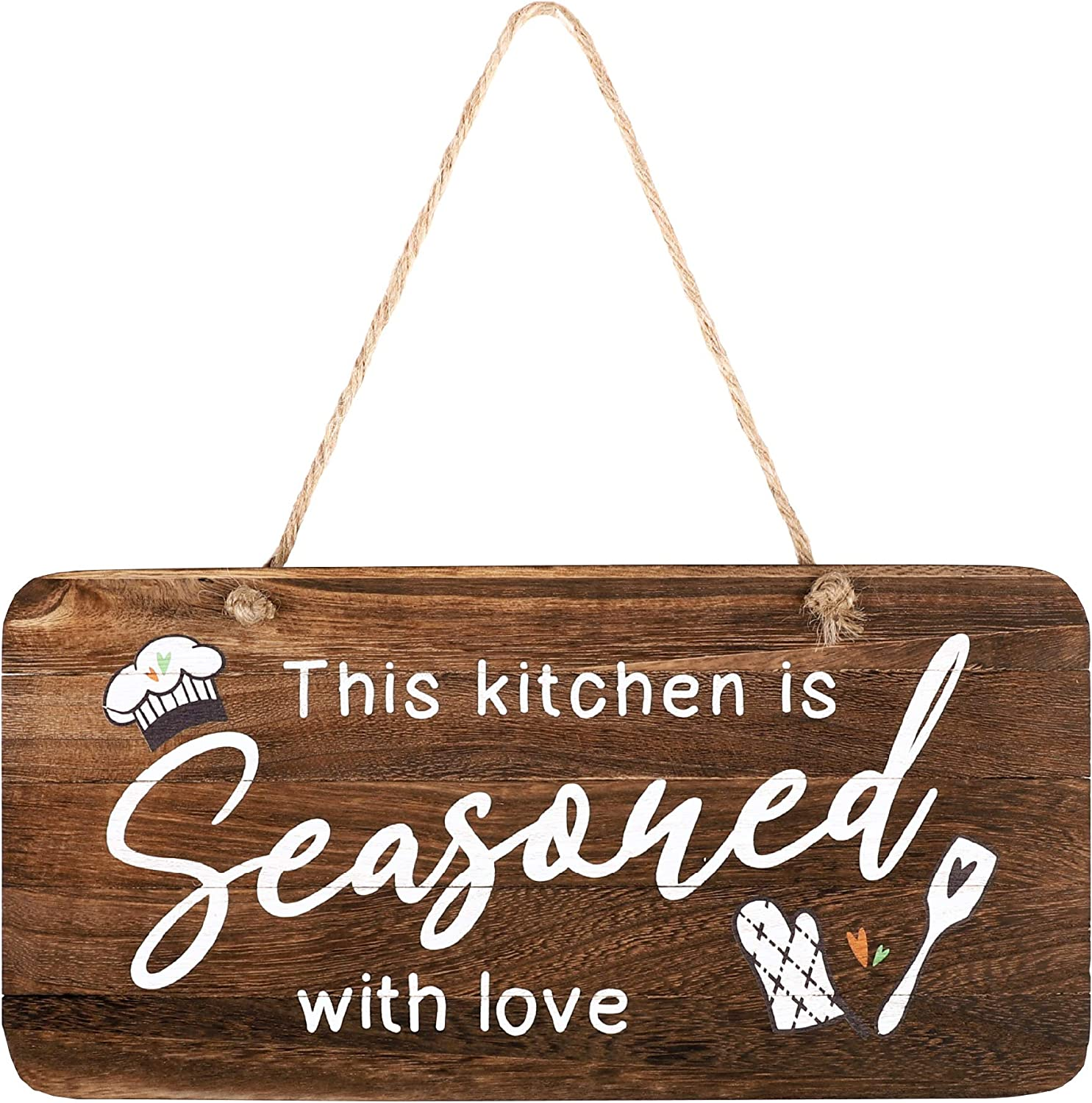 "Rustic Wood Kitchen Sign, This Kitchen is Seasoned with Love. Real Pallet Wood Sign for Farmhouse Home Decor, Rustic Home Wall Decor with Love Sign. 6"" x12"""