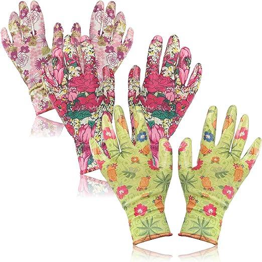 com-four® 3X Par de Guantes de Jardinería en Talla L - Guantes Protectores en Diseño Floral con Revestimiento de Goma [Selección Varía] (03 Pares - Verde/Rosa - L): Amazon.es: Jardín