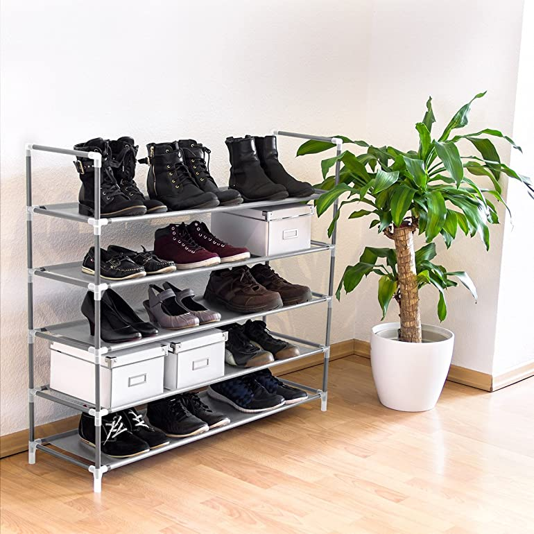 relaxdays shoe rack with handles fleece fabric 905 x 87 x 295 cm 5 shelves for up to 25 pairs of shoes grey amazoncouk kitchen u0026 home