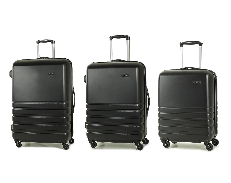 Rock Byron Hardshell Spinner Suitcase Set of 3 Black 3pc set: 55//64//74cm