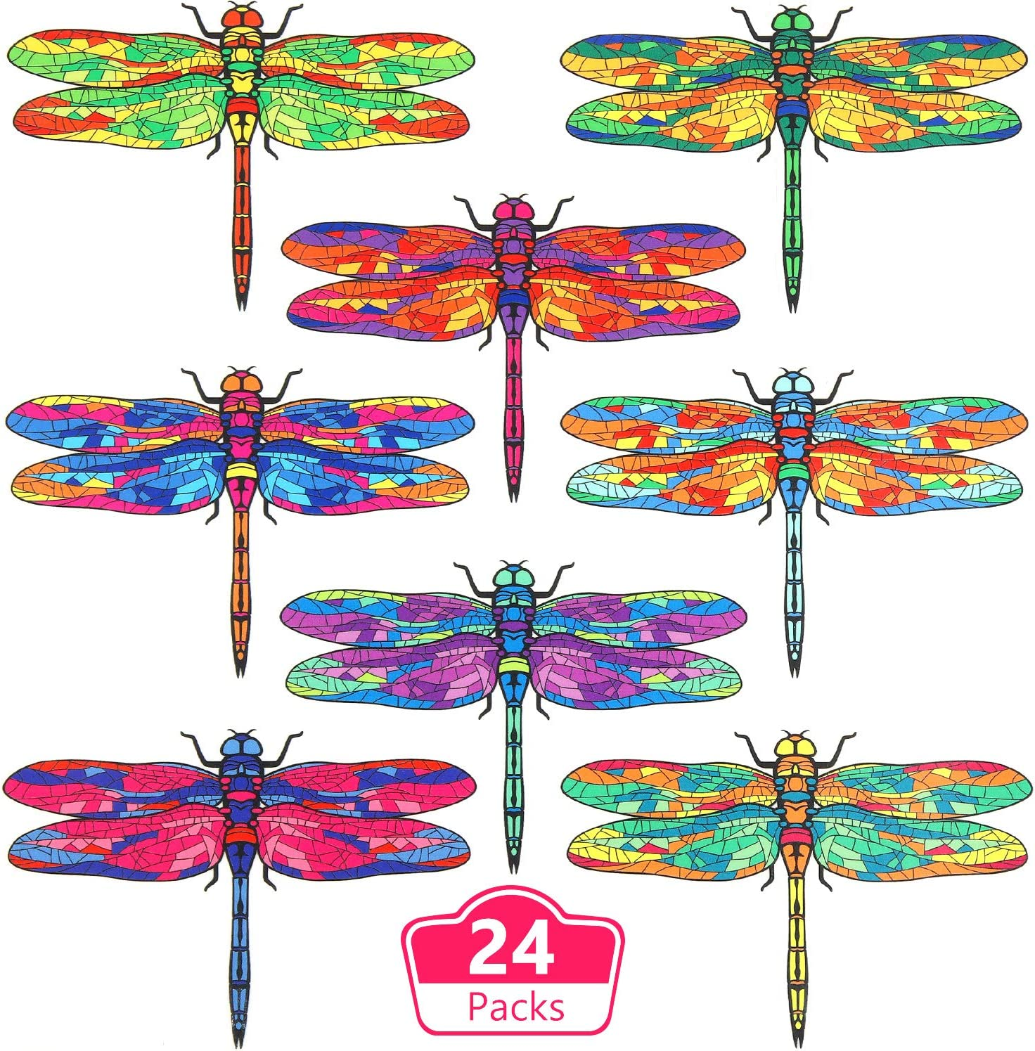Outus 24 Pieces Dragonfly Window Clings Anti-Collision Decorative Window Decals Non Adhesive Vinyl Clings to Alert Prevent Bird Strikes on Window Glass