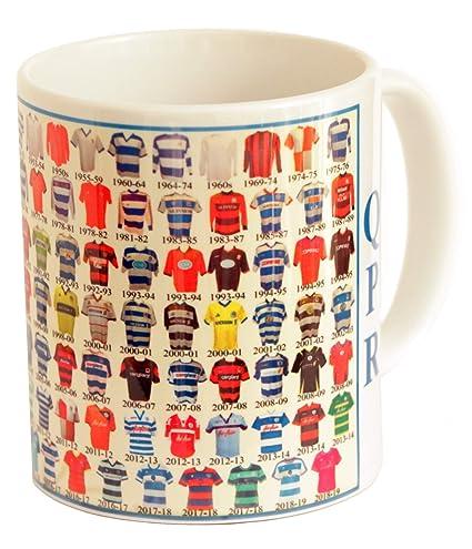 d7ecae33c3c QPR mug QPR shirt History Mug Ceramic Mug football Mug QUEENS PARK RANGERS  MUG SHIRTS THROUGH THE AGES: Amazon.co.uk: Kitchen & Home