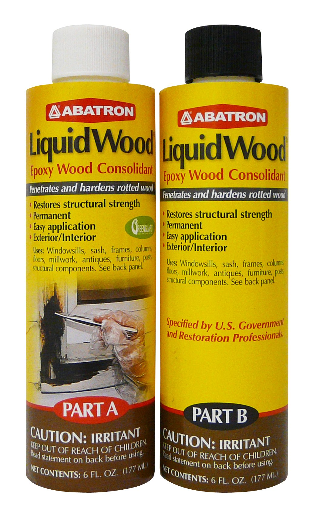Abatron LiquidWood Kit Epoxy Wood Consolidant 6 oz each, Part A & B by Abatron