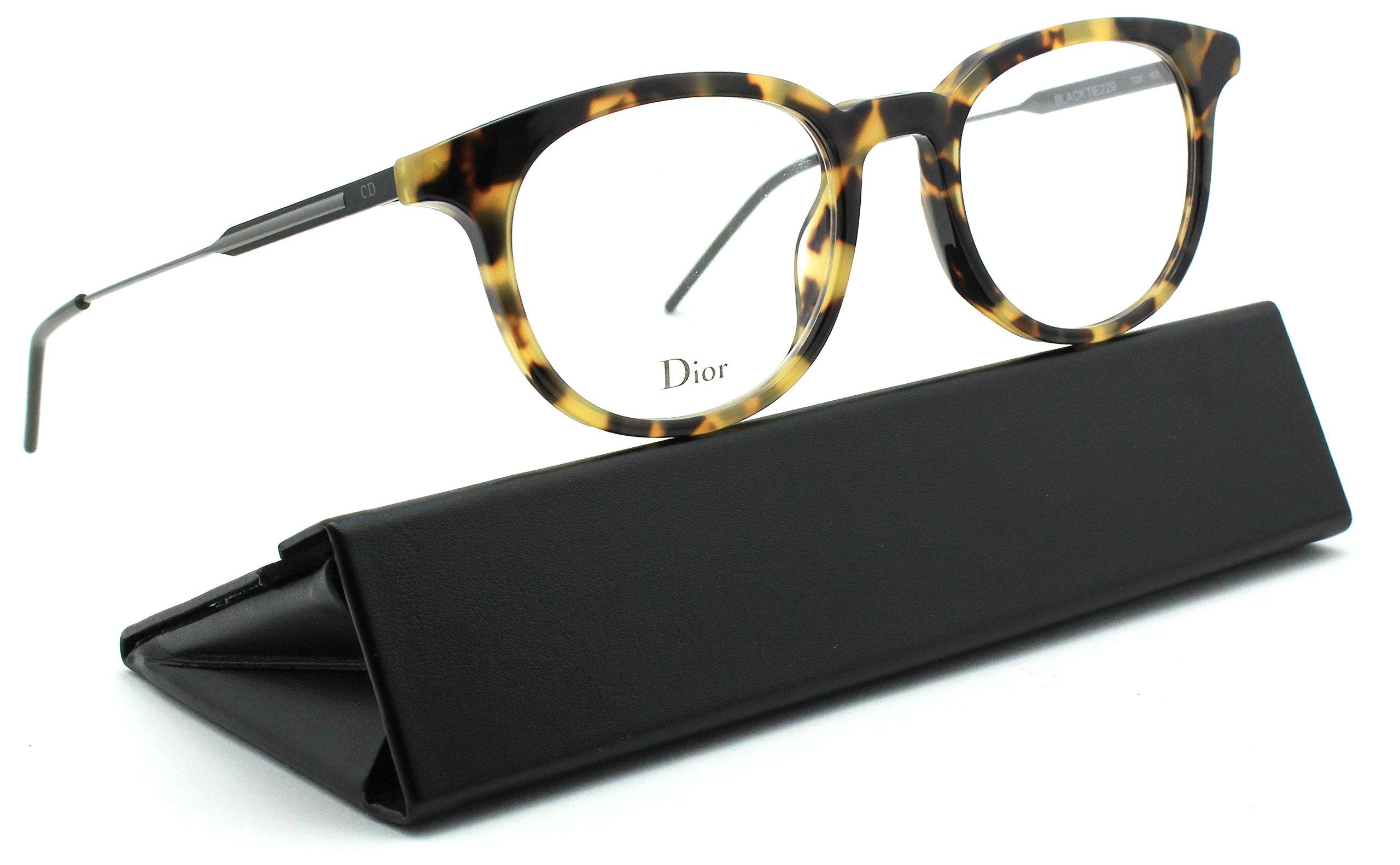 Dior Homme Black Tie 229 Unisex Round Eyeglasses (Havana Matte Khaki Frame 0TDF, 51)
