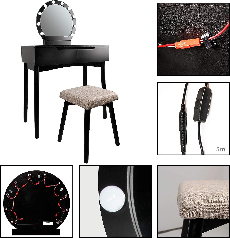 Sgabello Imbottito e Cassetti CCLIFE Toletta Luci Da Specchio,Modello 017,Bianco Tavolo da Trucco con Specchio e Lampadine